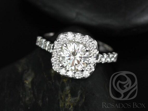 Rosados Box Trisha 6.5mm 14kt White Gold Round Forever One Moissanite Diamonds Cushion Halo Engagement Ring