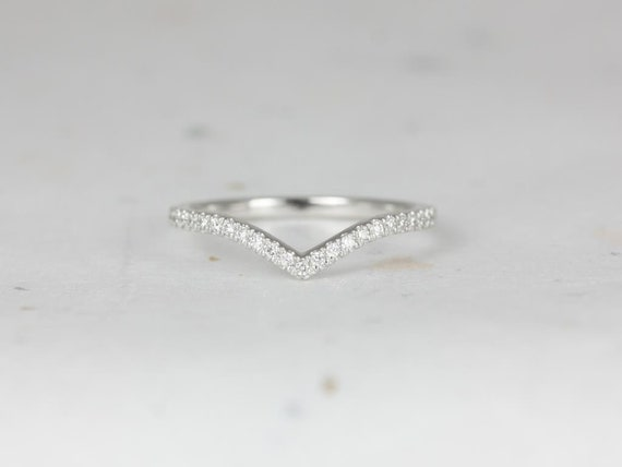 Chevy 14kt White Gold Dainty Chevron Flair Pave Diamond V Ring Stacking Ring (S.L.A.Y. Collection),Rosados Box