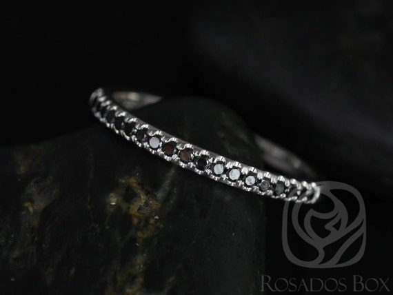 Rosados Box Kierra 14kt White Gold Black Diamonds French Pave HALFWAY Eternity Band