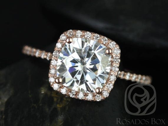SALE Rosados Box Ready to Ship Catalina 7.5mm 14kt Rose Gold Cushion FB Moissanite Diamond Dainty Pave Cushion Halo Engagement Ring