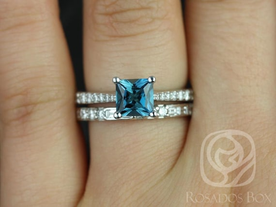 Rosados Box Taylor 6mm & Gabriella 14kt White Gold Princess London Topaz and Diamond Cathedral Wedding Set