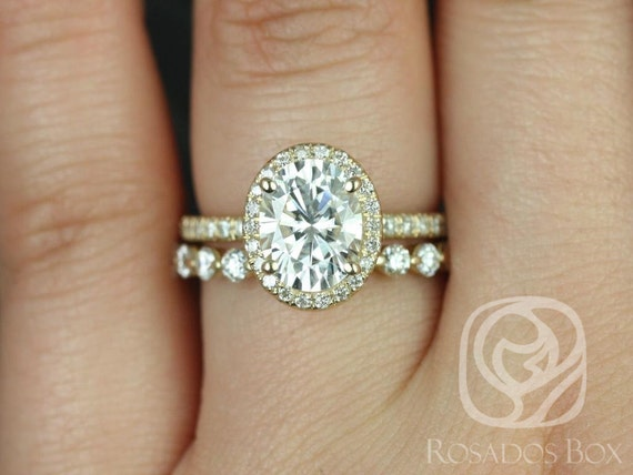 1.50ct Oval Forever One Moissanite Diamond Micropave Halo Wedding Set Rings,14kt Yellow Gold,Chantelle 8x6mm & Medio Naomi,Rosados Box