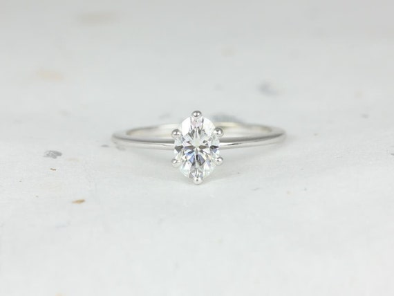 Rosados Box Skinny Rhea 7x5mm 14kt White Gold Oval F1- Moissanite 6 Prong Tulip Solitaire Engagement Ring