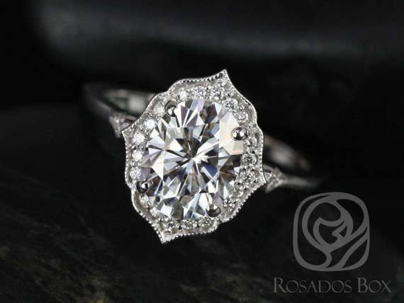 Rosados Box Ready to Ship Mae 9x7mm 14kt White Gold Oval Forever One Moissanite Diamond Halo WITH Milgrain Engagement Ring