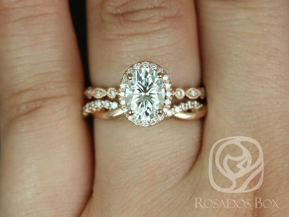 1.50ct Oval Forever One Moissanite Diamonds Twisted Pave Halo WITH Milgrain Wedding Set Rings,14kt Rose Gold,Gwen 8x6mm & Dusty,Rosados Box