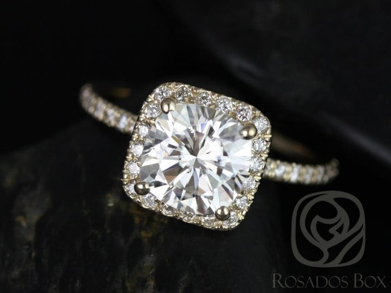 Rosados Box Pernella 7mm 14kt Yellow Gold Cushion Forever One Moissanite Diamonds Halo Engagement Ring