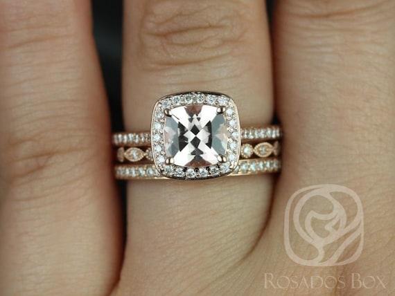 Rosados Box Hollie 8mm & Ultra Pte Bd Eye 14kt Rose Gold Cushion Morganite Diamond Pave Halo TRIO Wedding Set Rings