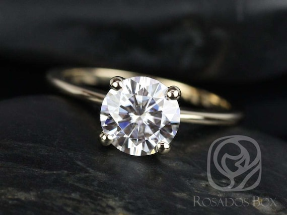 1.50ct Skinny Alberta 7.5mm 14kt Gold Forever One Moissanite Dainty Cathedral Round Solitaire Engagement Ring,Rosados Box