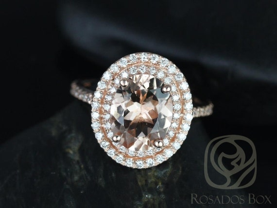 Cara 10x8mm 14kt Solid Rose Gold Morganite Diamonds Dainty Pave Oval Double Halo Engagement Ring,Rosados Box