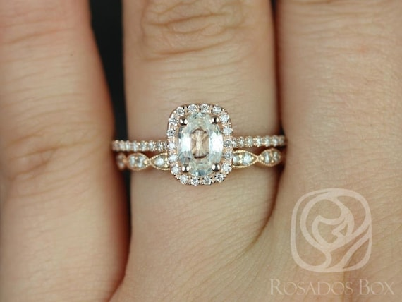 Rosados Box Romani 7x5mm & Christie 14kt Rose Gold Oval White Sapphire Diamond Cushion Halo Wedding Set Rings
