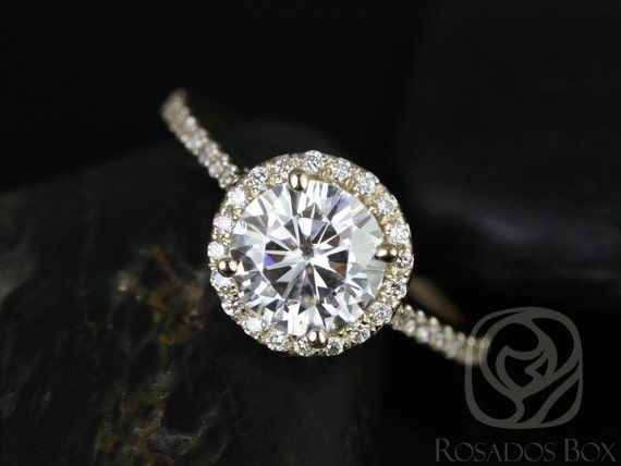 1.25ct Round Forever One Moissanite Diamonds Pave Dainty Round Halo Engagement Ring,14kt Solid Yellow Gold,Kubian 7mm,Rosados Box