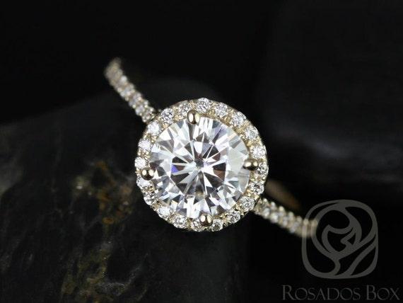Rosados Box Kubian 7mm 14kt Yellow Gold Round Forever One Moissanite Diamonds Halo Engagement Ring