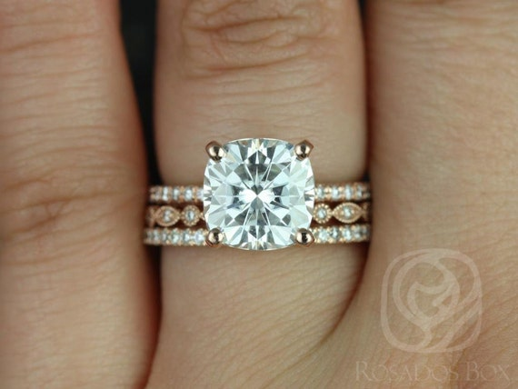 3.30ct Heidi 9mm & Gwen 14kt Rose Gold Forever One Moissanite Art Deco Diamond Pave TRIO Wedding Set Rings,Rosados Box