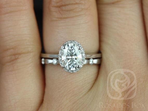 Rosados Box Celeste 8x6mm & Juno 14kt White Gold Oval Forever One Moissanite Diamonds Pave Halo Wedding
