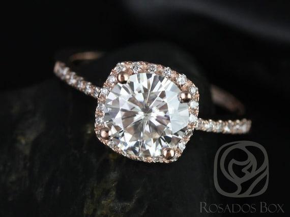 Rosados Box Barra 8mm 14kt Rose Gold Round Forever One Moissanite Diamonds Thin Cushion Halo Diamond Engagement Ring