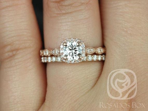 Rosados Box Christie 3/4ct & Taylor 14kt Rose Gold Round Diamond Cushion Halo WITH Milgrain Wedding Set Rings