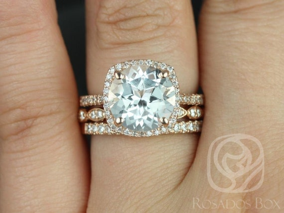 Rosados Box Barra 10mm & Christie 14kt Rose Gold Round White Topaz and Diamonds Cushion Halo TRIO Wedding Set
