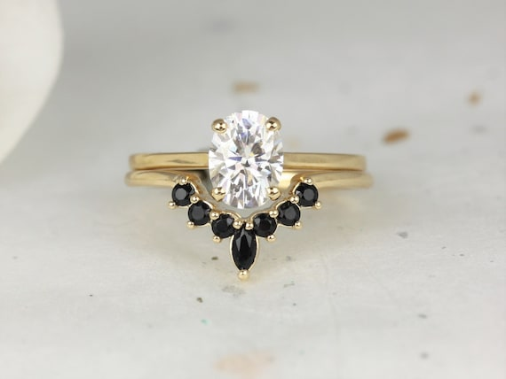 1.50cts Delia 8x6mm & Marjorie 14kt Solid Gold Forever One Moissanite Diamond Onyx Dainty Oval Solitaire Wedding Set Rings,Rosados Box
