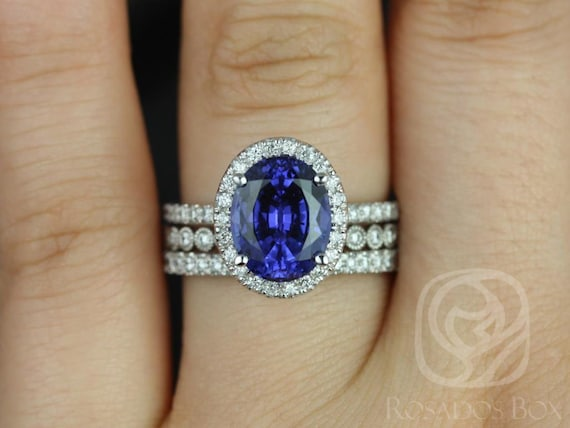 10x8mm Oval Blue Sapphire Diamond Micropave Halo TRIO Wedding Set Rings,14kt Solid White Gold,Chantelle 10x8mm & Petite Bubbles,Rosados Box