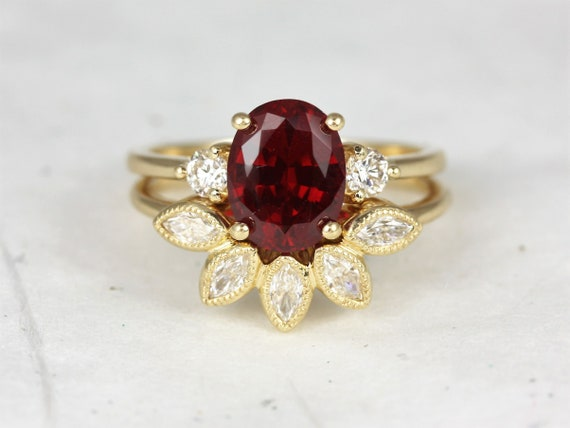 Gloria 9x7mm & Petunia 14kt Solid Gold Ruby Sapphire Diamonds Dainty Art Deco 3 Stone Oval Wedding Set Rings,Rosados Box