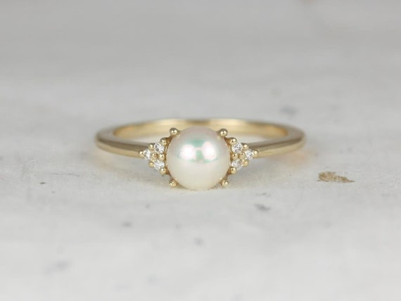 Mio 6mm 14kt Solid Gold Pearl Sapphire Dainty Cluster 3 Stone Ring,Rosados Box