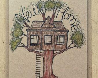 New Home greetings card with kraft envelope, 10.5 x 15cm, treehouse card, kraft card, blank inside, celebration card