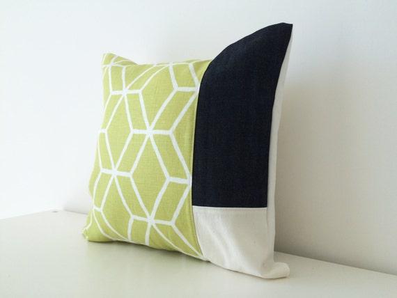Patchwork Pair Geometric Diamond Lattice Pattern Lime Green 16x16 Color Block 2 Braemore Linen Pillow Cover Set Designer Fabric