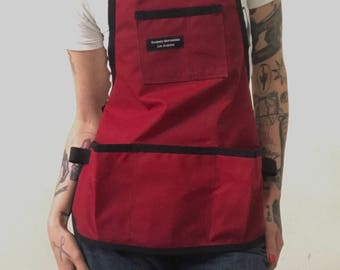 Red Waxed Canvas Utility Apron