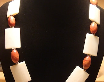 Mother of Pearl / Sponge Coral Necklace