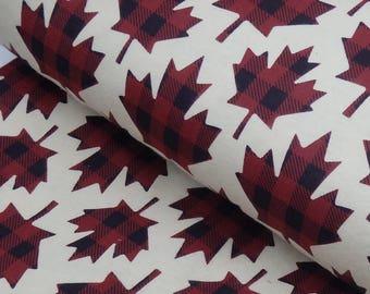 "Buffalo Plaid Maple Leaf Flannel, Lumberjack Plaid Leaves, Canadian Maple Leaf, 100% Cotton, 42"" Wide - by the half yard"