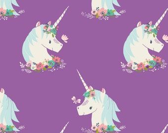 """Unicorn Fabric, Purple Unicorns, Orchid """"I Believe In Unicorns,"""" Heather Rosas for Camelot Fabrics, Quilting-Weight Cotton, By the Half Yard"""