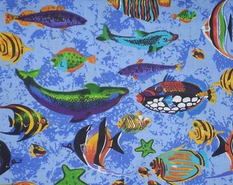 """Tropical Fish on Blue, Cotton/Poly Blend, 59-60"""" Wide, by the half yard"""