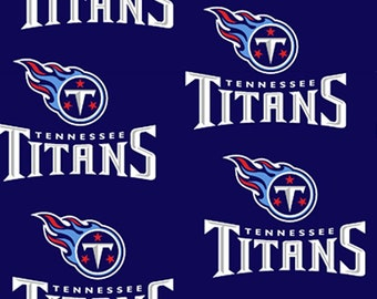 NFL Football Tennessee Titans 2019 Sword Pattern Cotton Fabric by the Yard