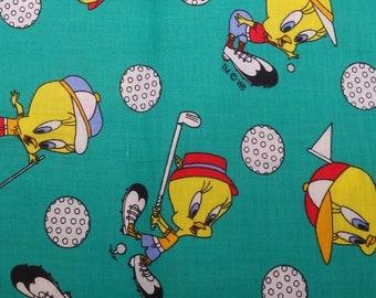 Tweety Bird Golfing, Golf Fabric, Vintage 1994 Warner Brothers, Sylvester Cat, Vintage Cartoons, Loony Tunes