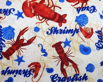 Coastal Catch Crab and Lobster Fabric  Crabs /& Lobsters Fabric  Robert Kaufman 73420 Yardage  Seafood By The Yard and Fat Quarter