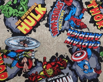 Avengers, Captain America, Incredible Hulk, Thor, Iron Man, Marvel Comics Fabric, Marvel Comic Burst, Quilting Cotton, By the Half Yard