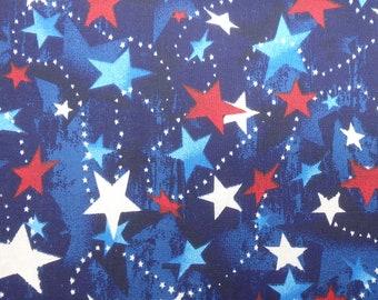 Red White & Blue Stars, Patriotic Print, by the half yard