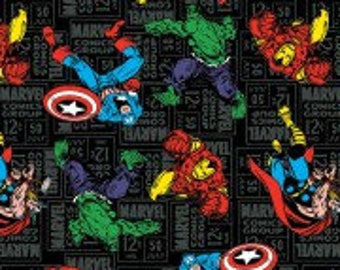 Avengers Fabric, Superhero Toss, Captain America, Incredible Hulk, Marvel Comics, Thor, Iron Man, Quilting Cotton, By the Half Yard