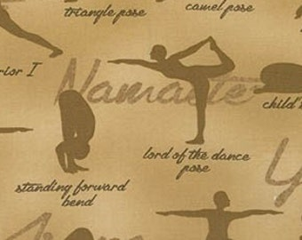 Yard Yoga Pose Words Toss Green Cotton Fabric Robert Kaufman Sports Life