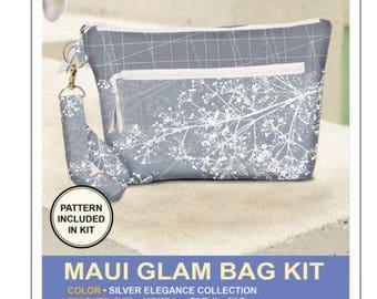 Maui Glam Bag Kit, Silver Elegance Collection, Silver Clutch Purse, Pink Sand Beach Designs, Purse Kit, Evening Bag Kit