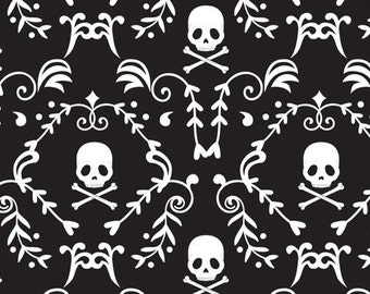 Punk Rock Damask, Skulls, Skull & Crossbones, Black and White - 100% Cotton, By the Half Yard