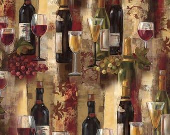 Wine Splendor, Wine Bottle Fabric, Cotton Quilting Fabric, David Textiles, by the Half Yard