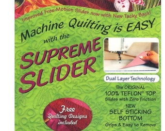 """Supreme Slider Zero Friction Free-Motion Slider for Machine Quilting Ease - 8.5"""" x 11"""" - includes Free Quilting Designs"""