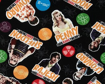 "Big Bang Theory Fabric, Big Bang Theory Cast, Black Background, 14"" x 18"" Wide"