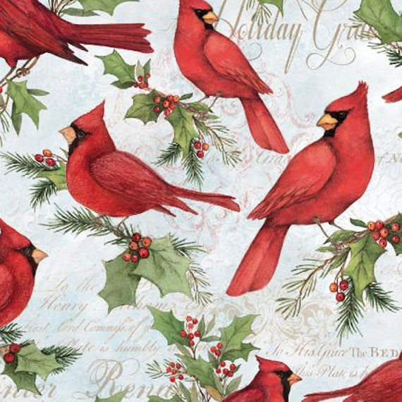 Christmas Cardinals Images.Christmas Cardinals Christmas Fabric 100 Cotton Fabric 44 Wide By The Half Yard