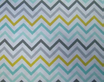 Turquoise, Gray, Yellow & White Chevron Flannel, by the FQ