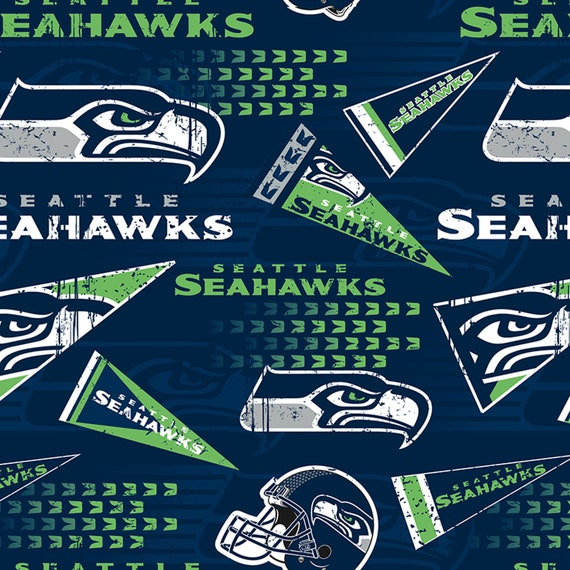 NEW Seattle Seahawks Pennants NFL Blue Cotton Fabric 58  98562f93c