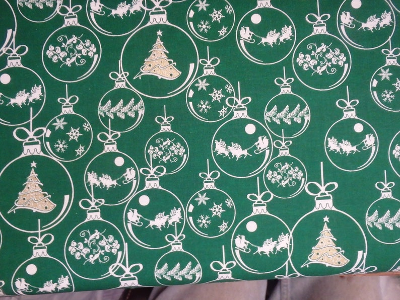 Green Christmas Tree Ornaments Holiday Quilting Cotton Green Gold Christmas Fabric Cotton Fabric 44 Wide By The Half Yard