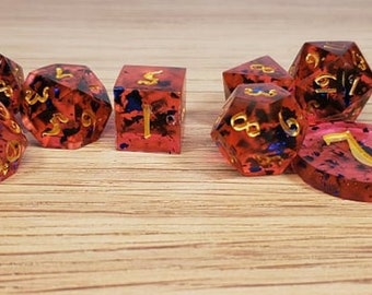 The Ruby and the Sapphire - 10 Piece Dice Set - Sharp Edge Resin Dice Set - D&D - Critical Role Inspired