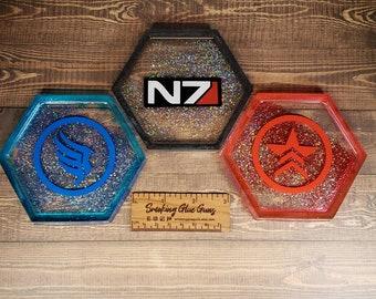 Mass Effect Inspired Resin Coasters - Cerberus, N7, Paragon, Renegade, Paragade, Alliance, Spectre